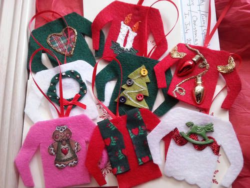 Ugly sweater ornaments! Adorable! 2013 Christmas in July Gallery