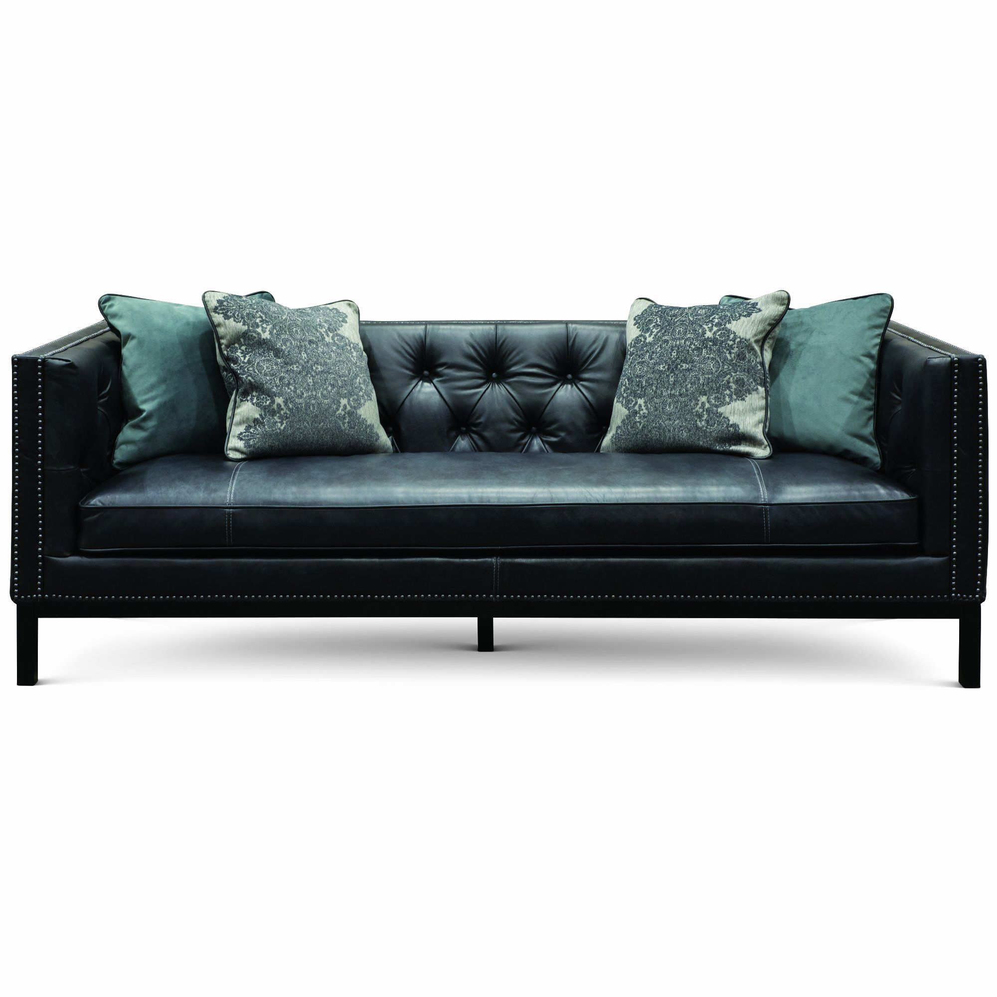 New Turquoise Leather Sofa Graphics Mid Century Modern Slate Black