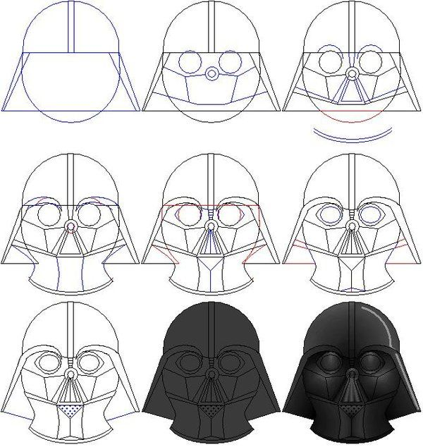 How To Draw Darth Vader S Mask By Ralo4155 Deviantart Com On