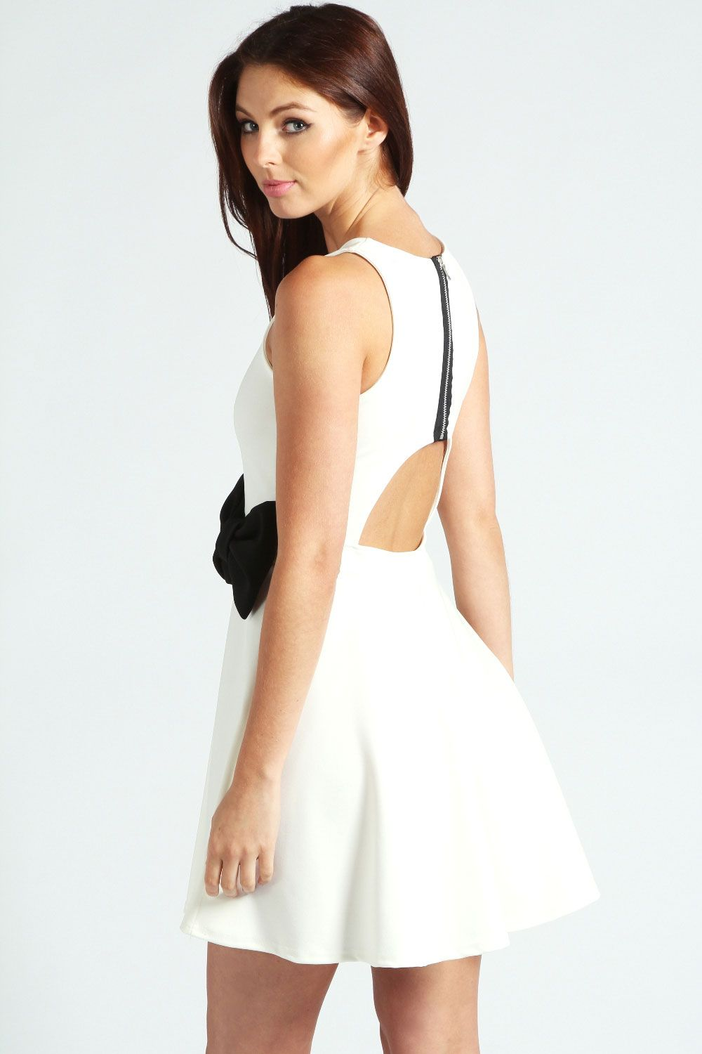 Open back bow front black u white dress fashion and style uc