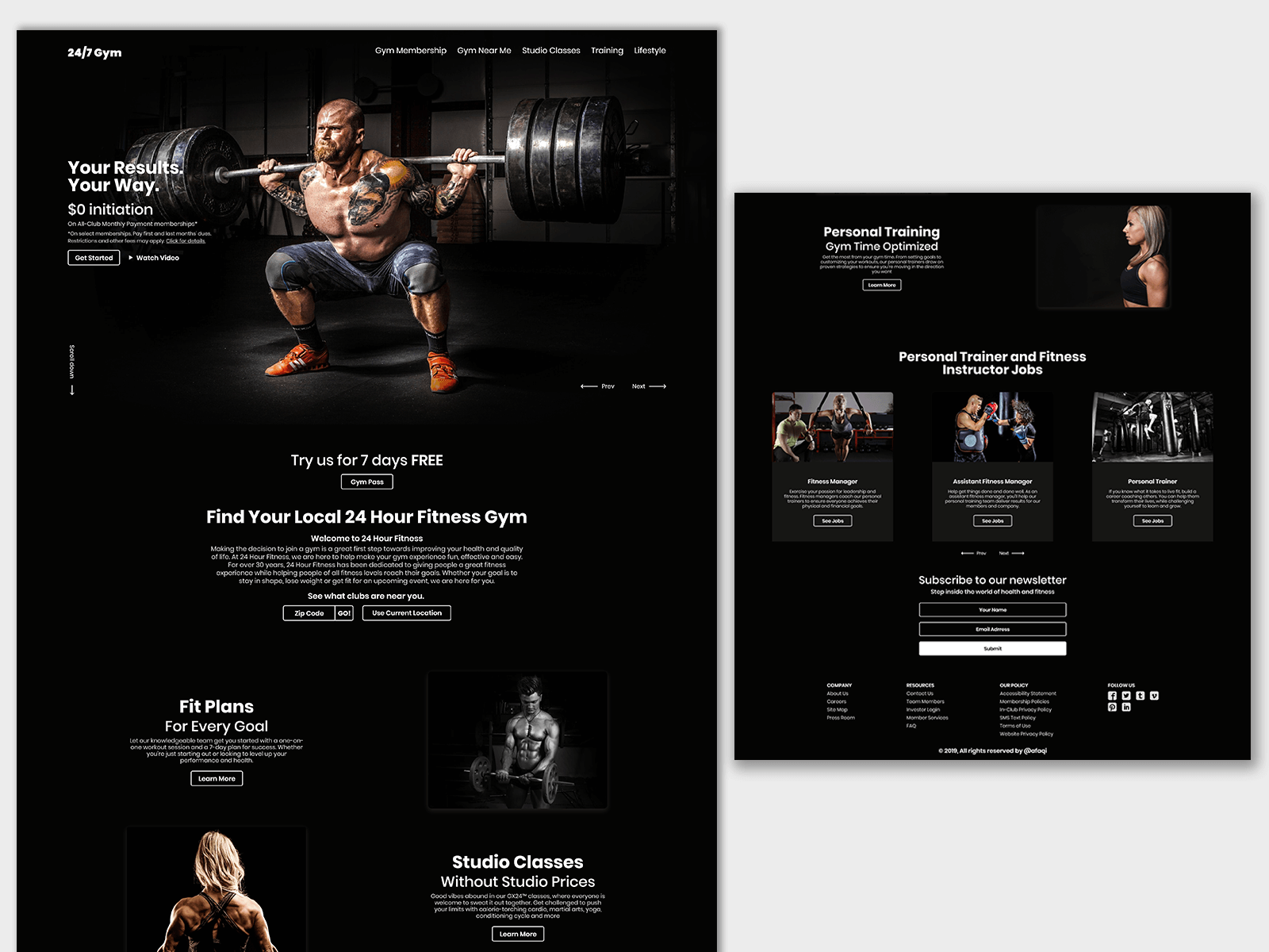 Gym Fitness Website Landing Page Gym Workouts Landing Page Workout Training Programs