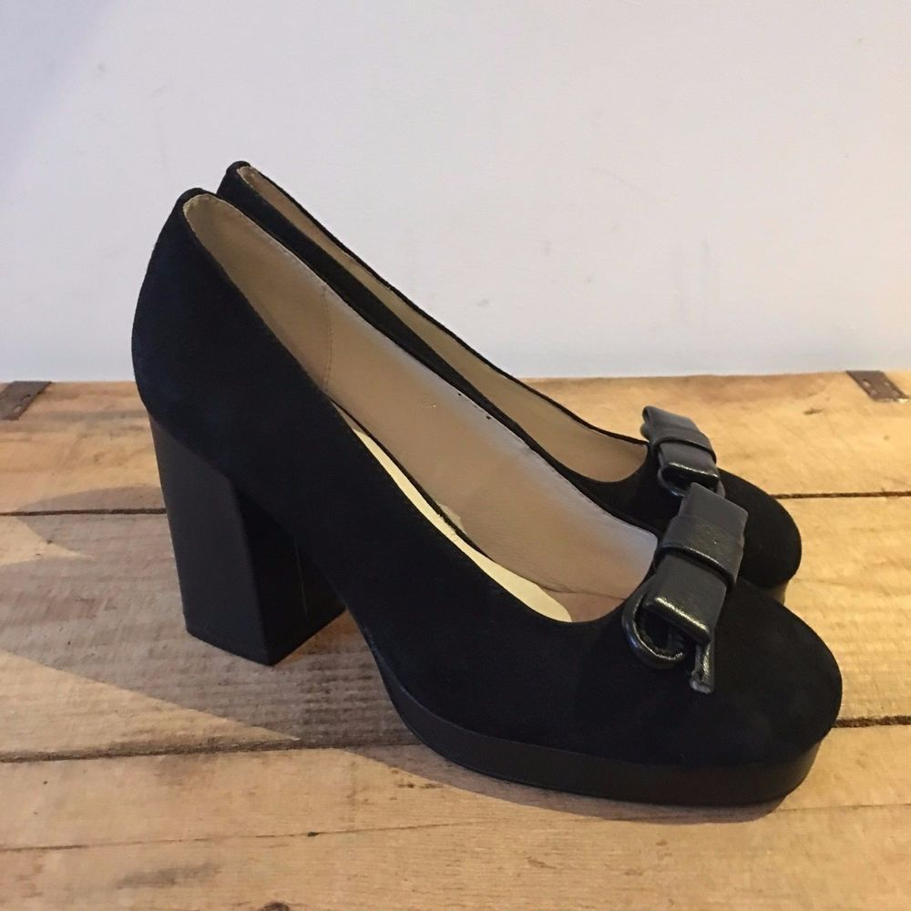 Uk Size 4 Womens Office Black Suede Court Shoes Chunky Heels Vintage Look