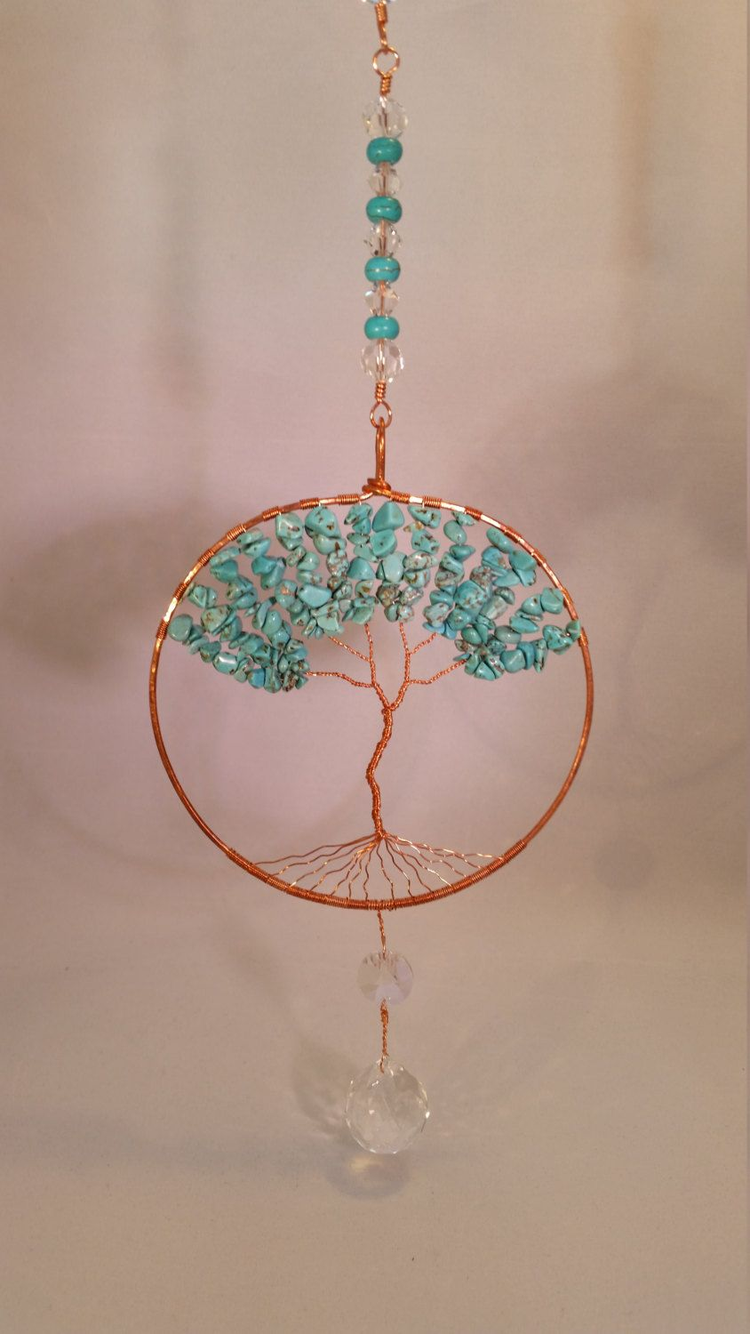 Large Turquoise Tree Of Life Copper Wire Wrap Suncatcher With