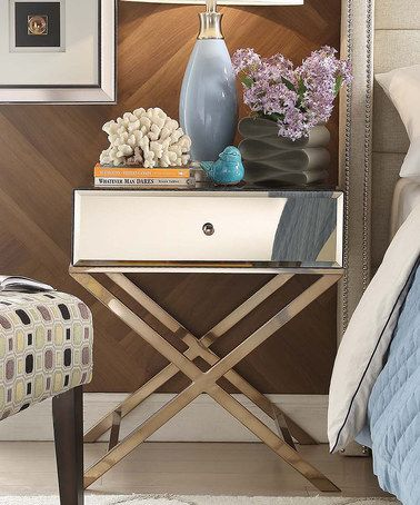 Another great find on #zulily! Champagne Brass Blanche Mirrored Accent Table #zulilyfinds