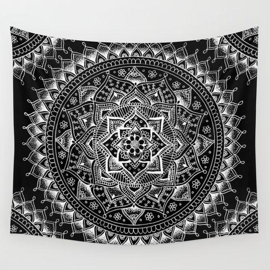Whiteflowermandalaonblackwalltapestrybylaurelmae3900 Rhpinterest: Wall Tapestry For Bedroom Black And White At Home Improvement Advice
