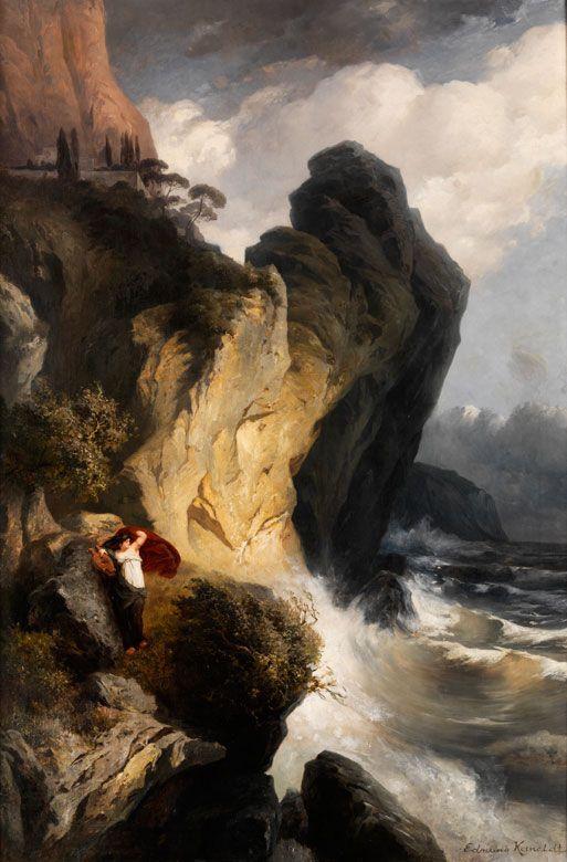 """SAPPHO AN FELSWAND VON LESBOS GELEHNT VOR STÜRMISCHER SEE Öl auf Leinwand. 131,5 x 89 cm. Rechts unten signiert """"Edmund Kanoldt"""". Gerahmt. Gemalt nach..."""