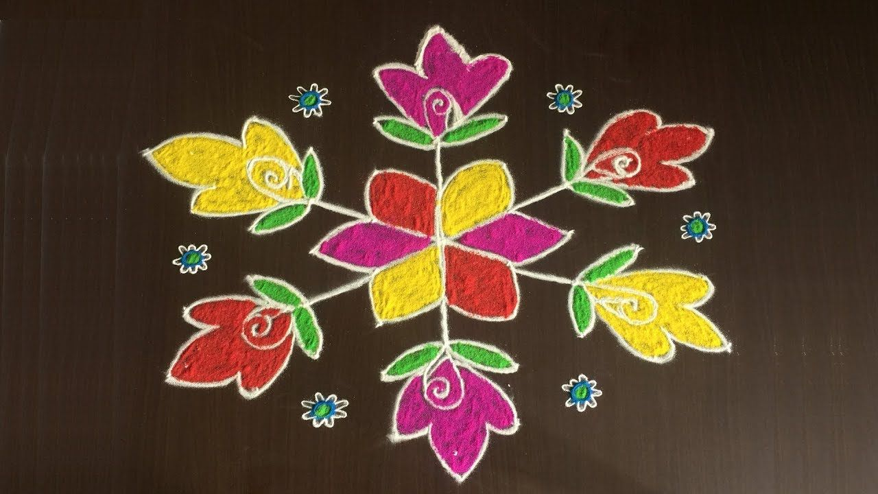 EASY RANGOLI DESIGNS WITH FLOWERS 9 TO 5 DOTS RANGOLI