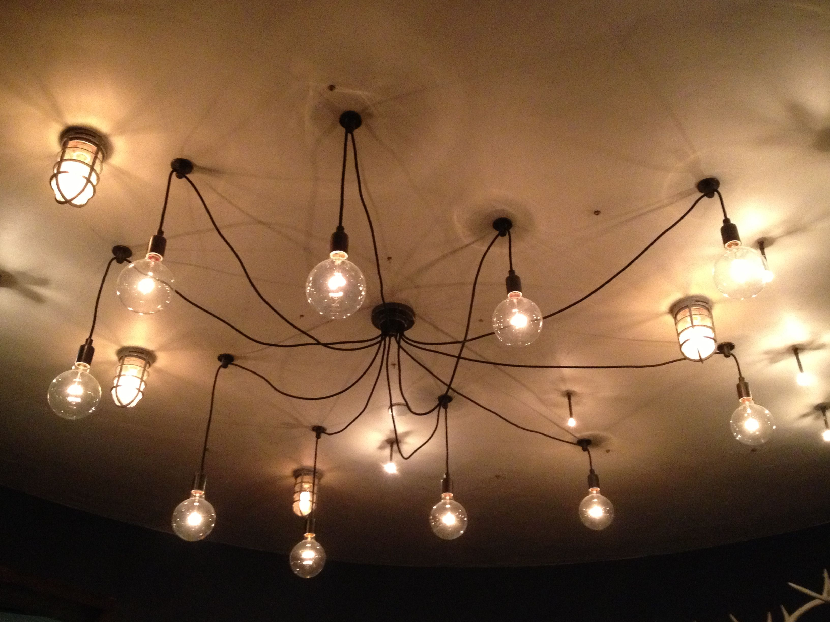 Individual Light Bulbs Hanging Down From Ceiling