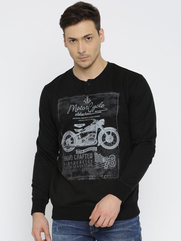8f30e865 Buy Roadster Men Black Henley Printed Sweatshirt - Sweatshirts for Men |  Myntra