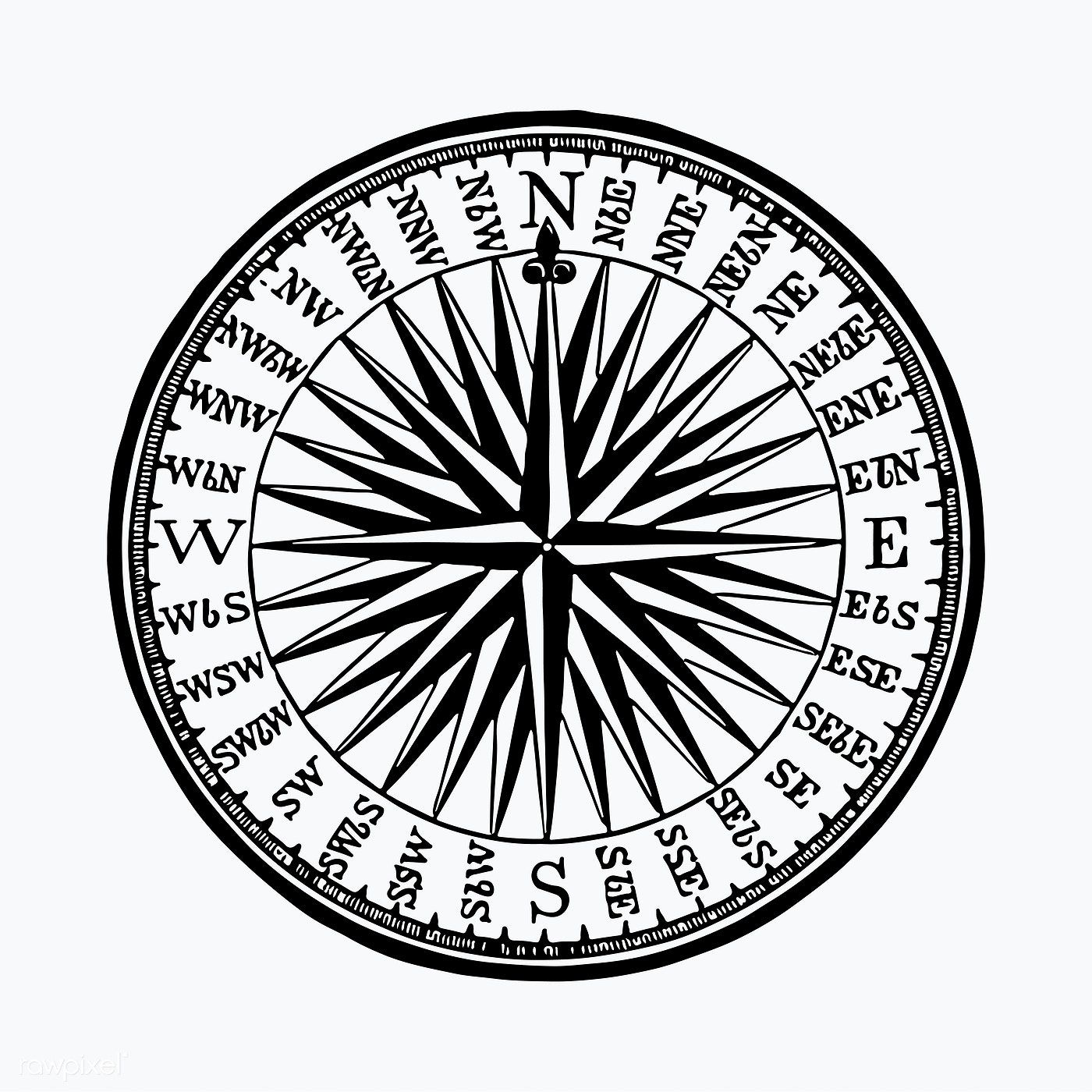 Vintage Victorian style compass engraving vector free