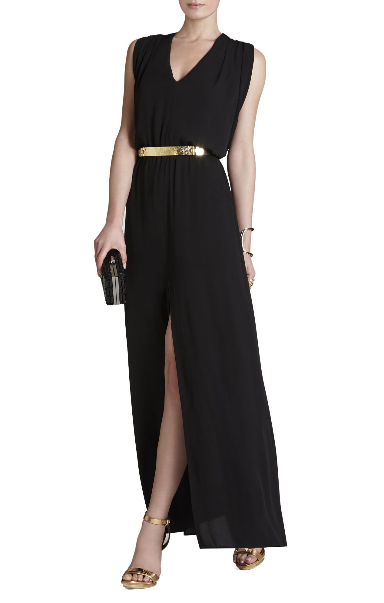 Maxi dresses for wedding guest  Raymee Sleeveless Draped WaistTie Maxi Dress  BCBG  Night out
