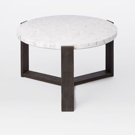 Mosaic Tiled Outdoor Coffee Table White Marble Weathered Wood