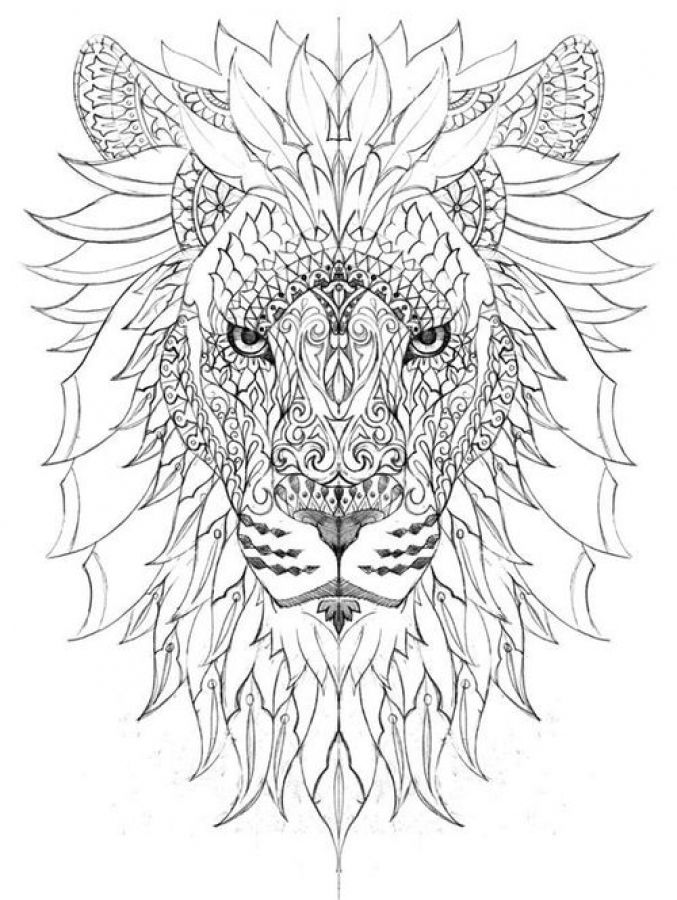 adult coloring pages lion Impressive dodle art of Lion difficult coloring pages for adults  adult coloring pages lion