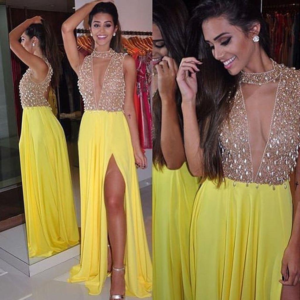 Sexy deep vneck prom dress yellow chiffon party dress sparkly