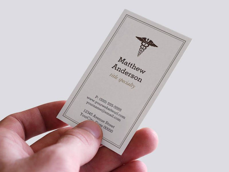 medical student teacher caduceus elegant classic business card