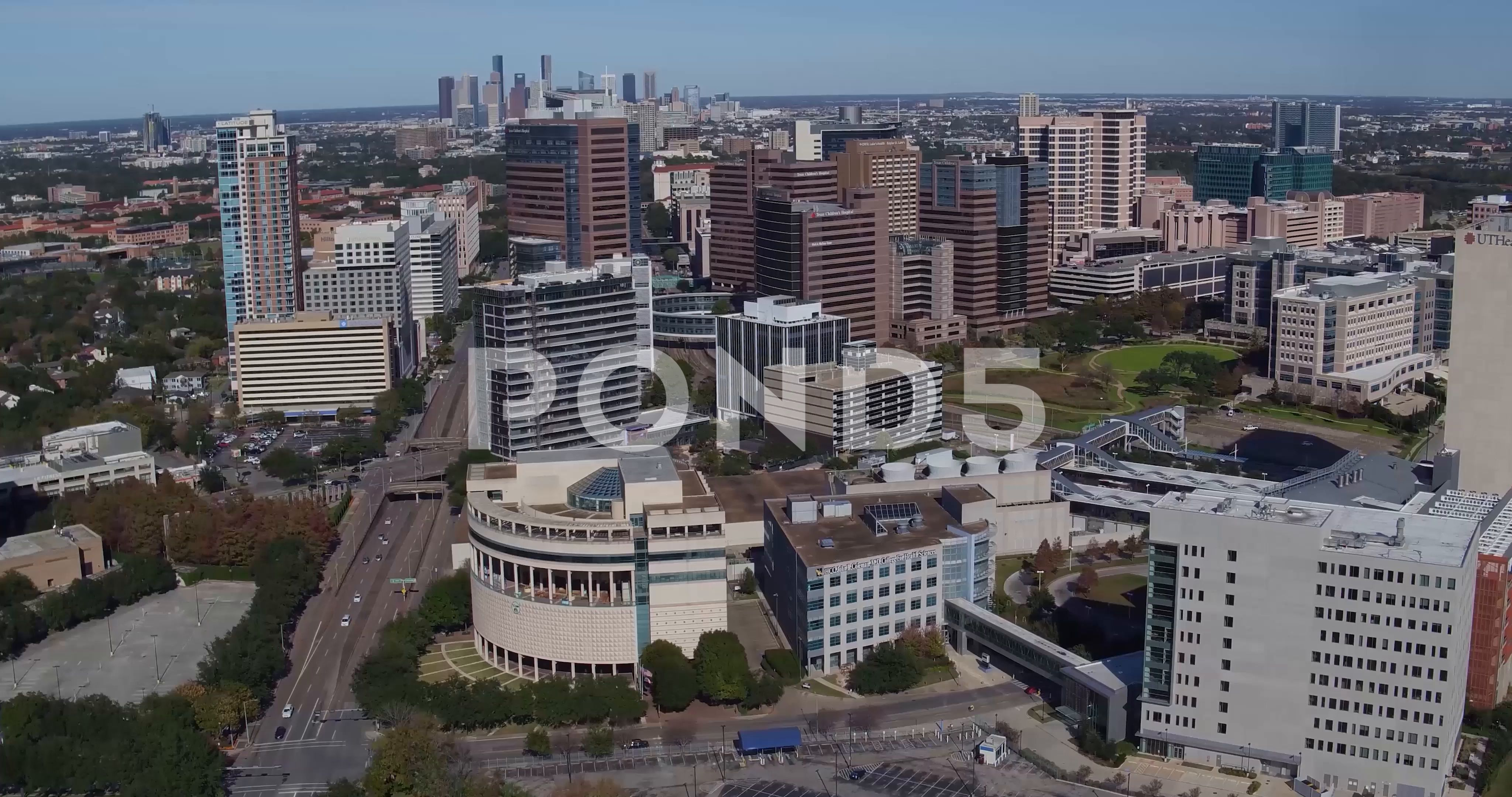 Texas Medical Center Houston Aerial Drone Stock