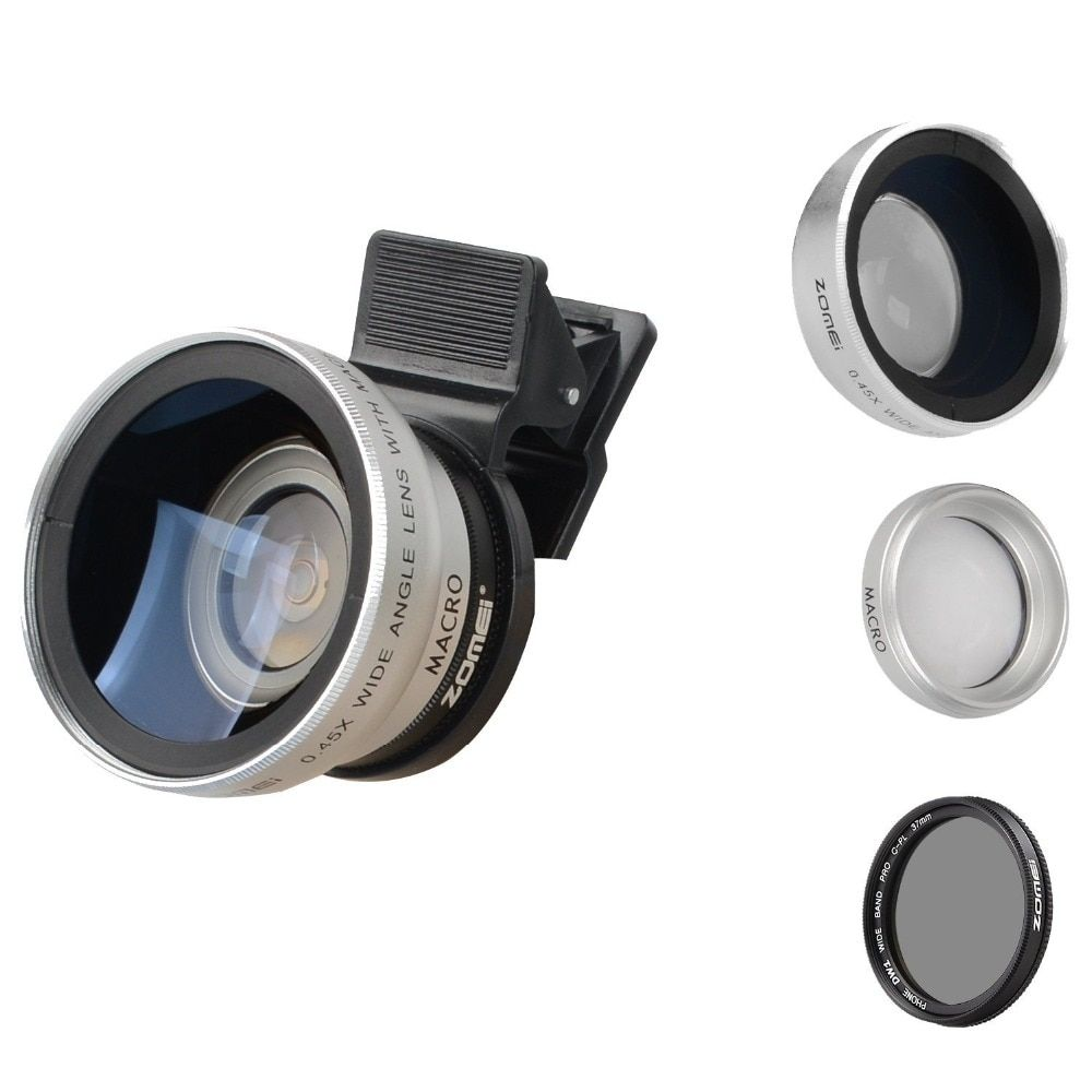 Zomei 3 in 1 Cell Phone Camera Lens Kit 140 Degree Wide Angle Lens + 10X Macro Lens + CPL Polarizing Filter for iPhone Samsung #wideangle