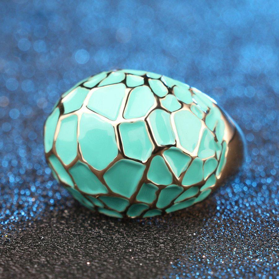 Italian Style Geometric Enamel Turquoise Teal Women's Gold