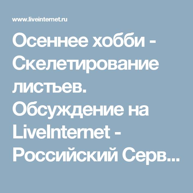 Осеннее хобби - Скелетирование листьев. Обсуждение на LiveInternet - Российский Сервис Онлайн-Дневников