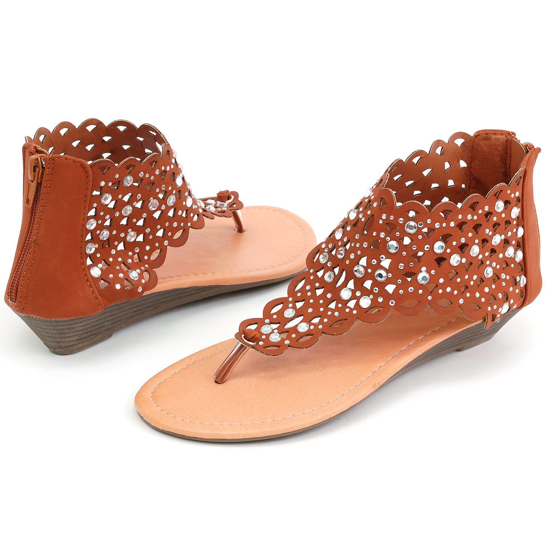 83cf5a41b Womens Gladiator Sandals Wedge Heel Thongs Dressy Ankle Wrap Shoes W  Rhinestone