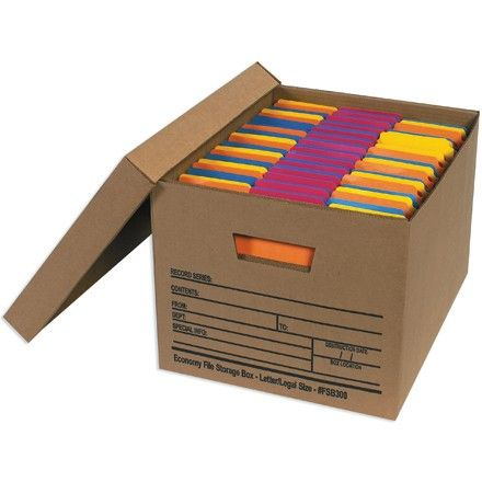 Office file boxes may be used to organize files and