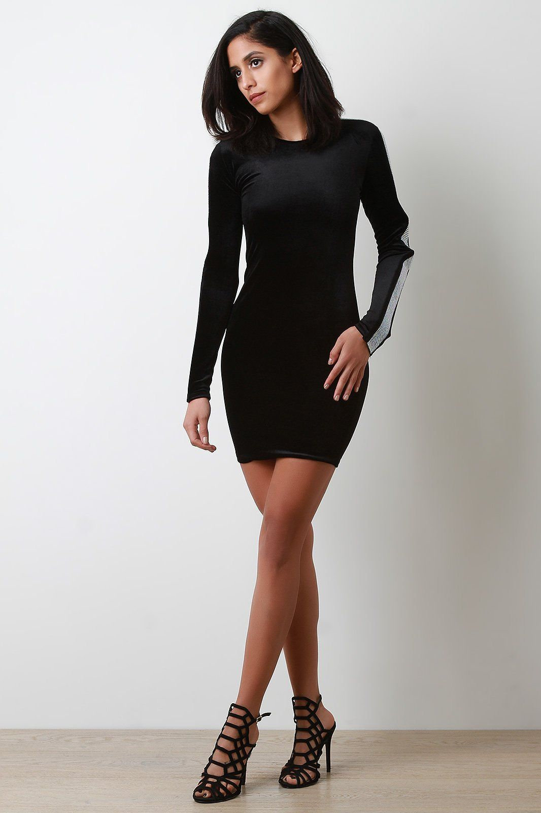 Velvet long sleeve rhinestone embellished mini dress products