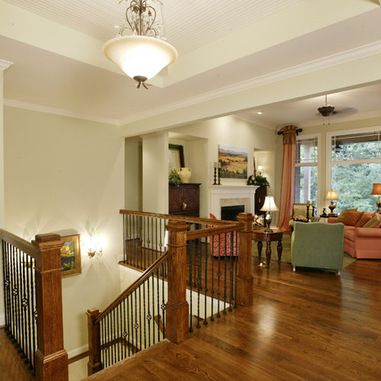 Open Basement Stair Design Ideas Pictures Remodel And Decor | Floor Opening For Basement Stairs | L Shaped | Foyer | Both Side | Interior | 8 Foot Ceiling