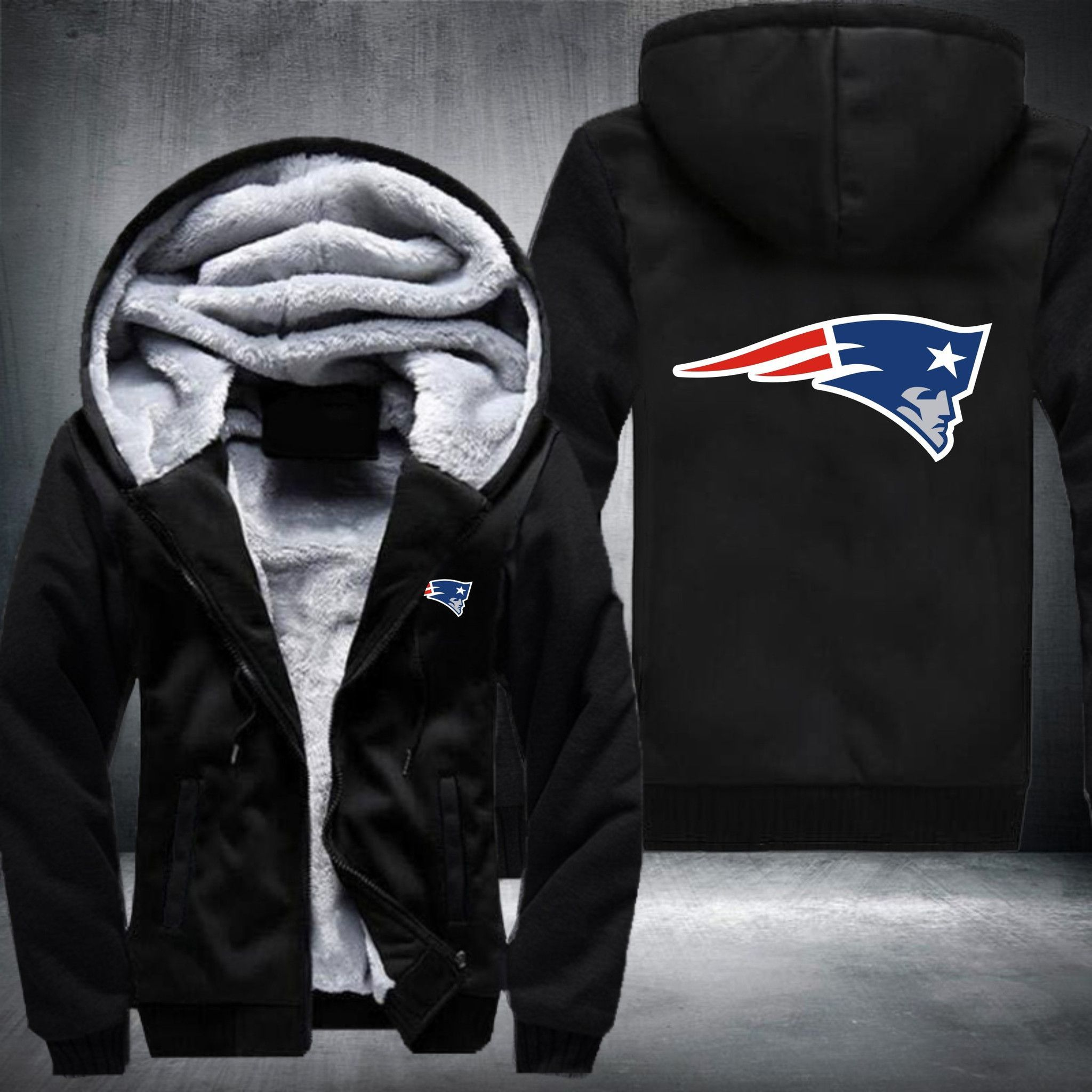 Nfl New England Patriots Big Logo Thick Fleece Jacket New England Patriots Nfl New England Patriots Fleece Jacket