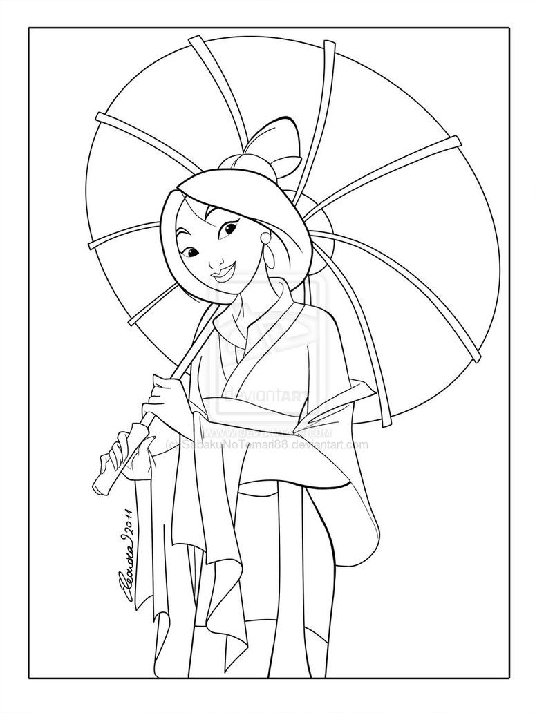 Mulan Lineart By Sabakunotemari88 On Deviantart Disney Princess Coloring Pages Princess Coloring Pages Disney Coloring Pages