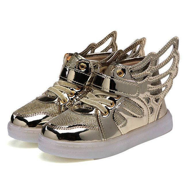 Lighted Shoes For Girls Boys Lovely Angel Wings Gold Hook LED shoes