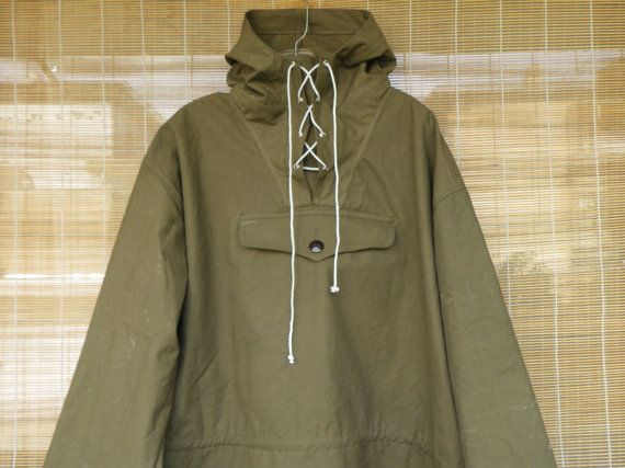 Vintage Military Green Canvas Pullover Anorak Parka Smock With ...