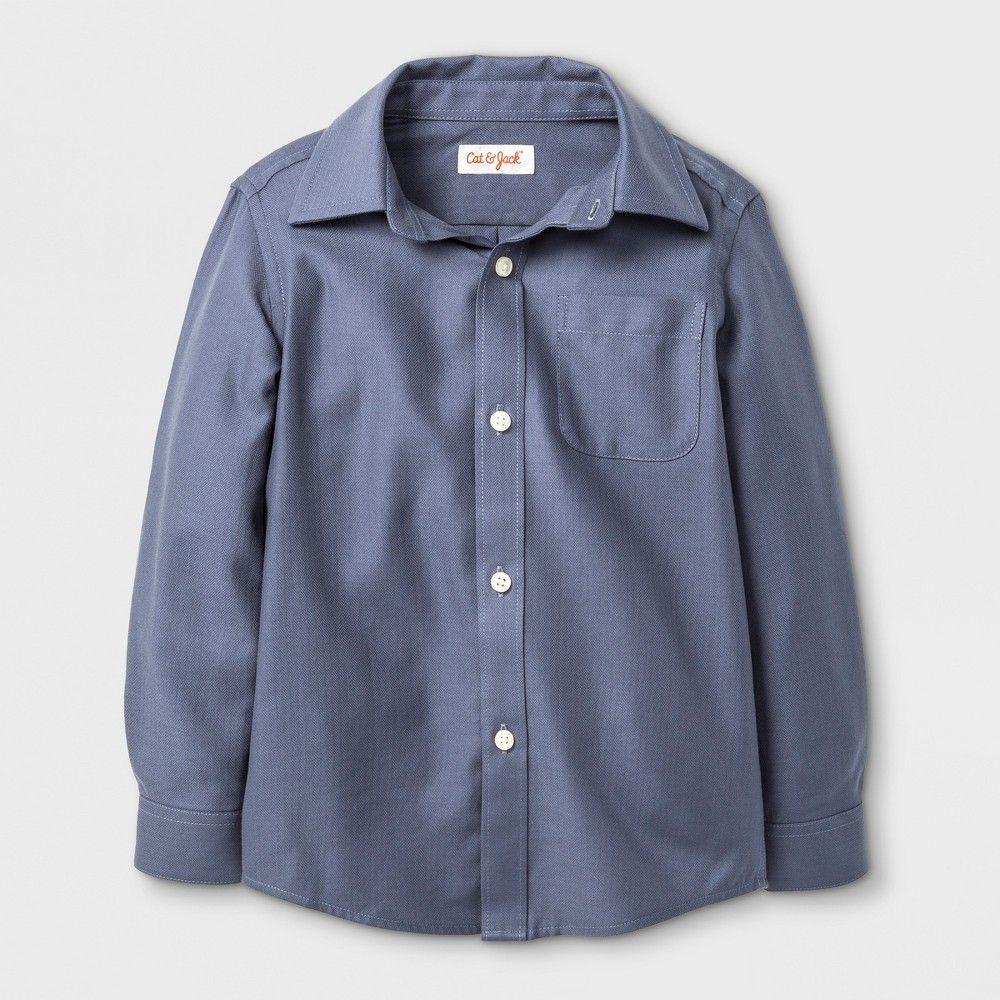 2163cdba14 Toddler Boys  Long Sleeve Button Down Shirt - Cat   Jack Gray ...