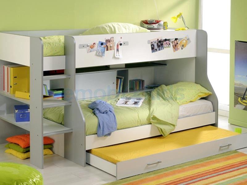 Lit superposé evolutif - 3 couchages - lit enfant avec tiroir bois ...