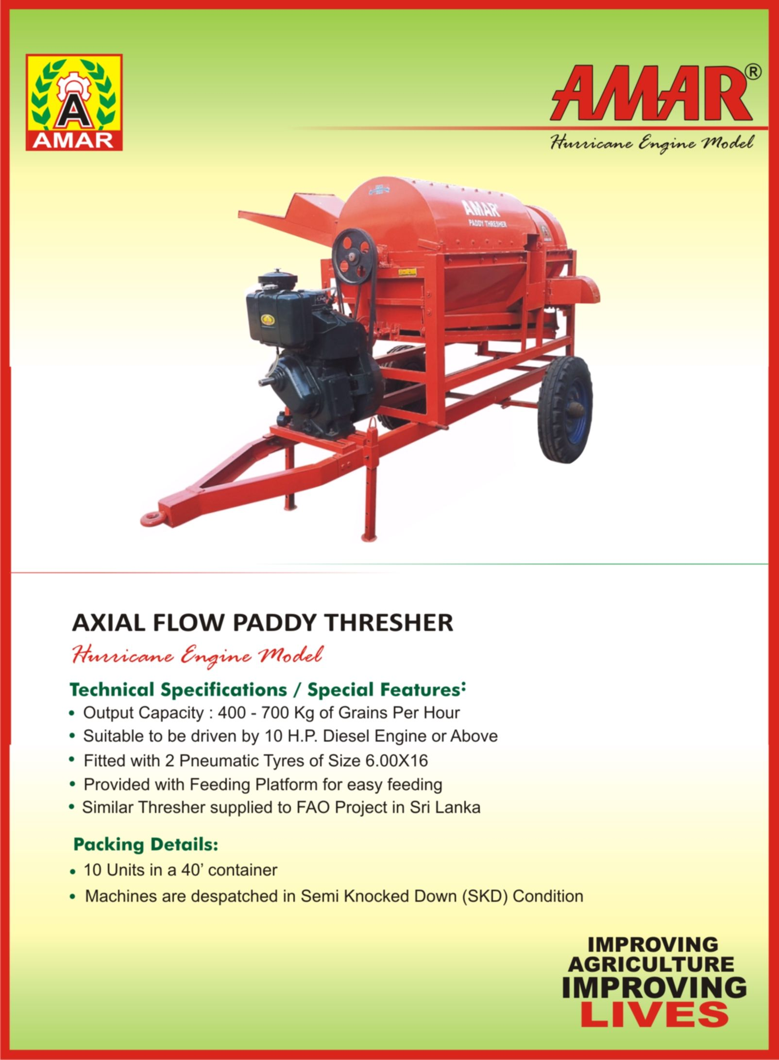 Amar Paddy Thresher Fuel Engine Model A Special Thresher For