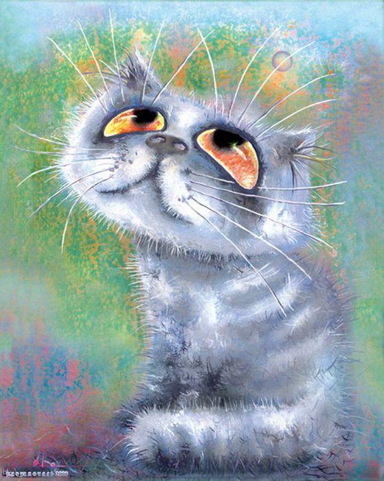 Открытка, картинки смешных рисованных кошек
