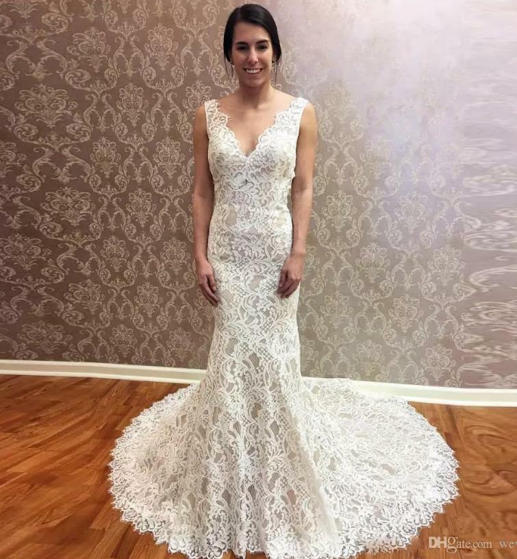 Ebay Ad Backless Lace V Neck Wedding Dress Mermaid Sleeveless Bridal Gown Custom Made Bridal Gowns Mermaid Backless Bridal Gowns Cheap Wedding Dress