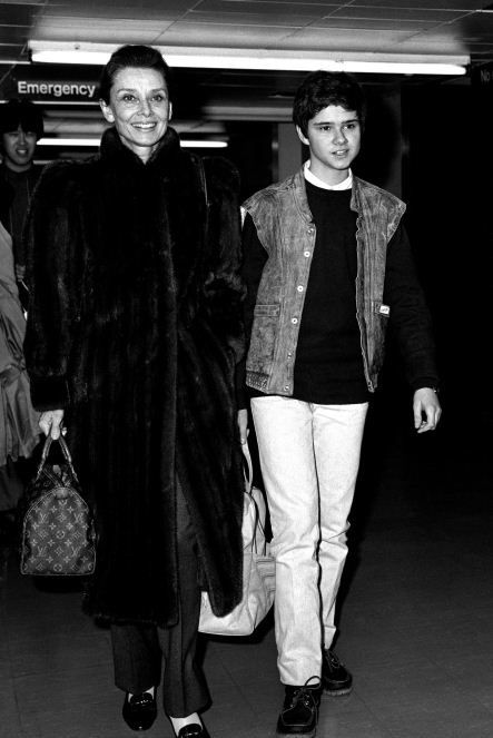 Audrey Hepburn  with her youngest son Luca Dotti c1984