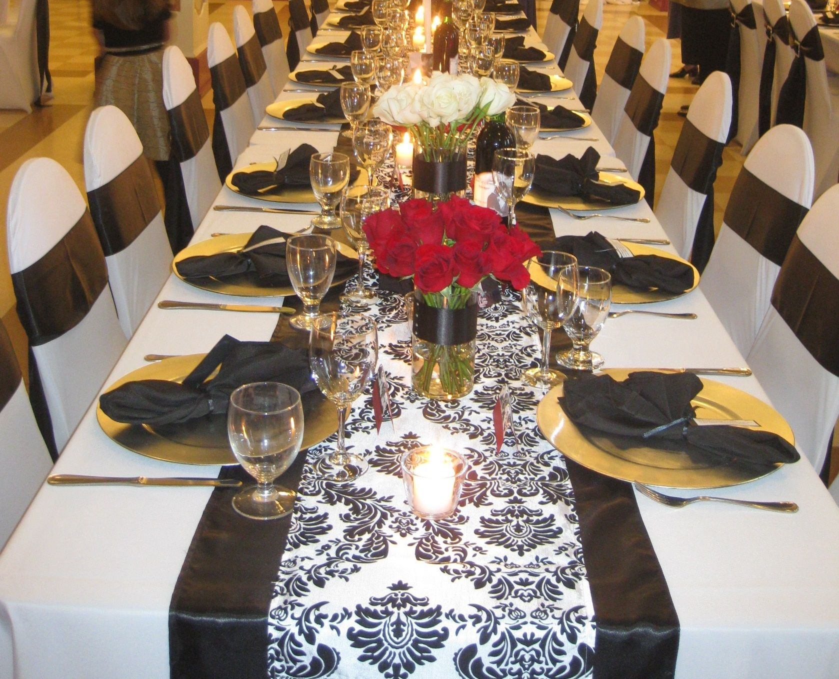 B&W Damask Runner With Black Border Red Rose Centerpieces Silver