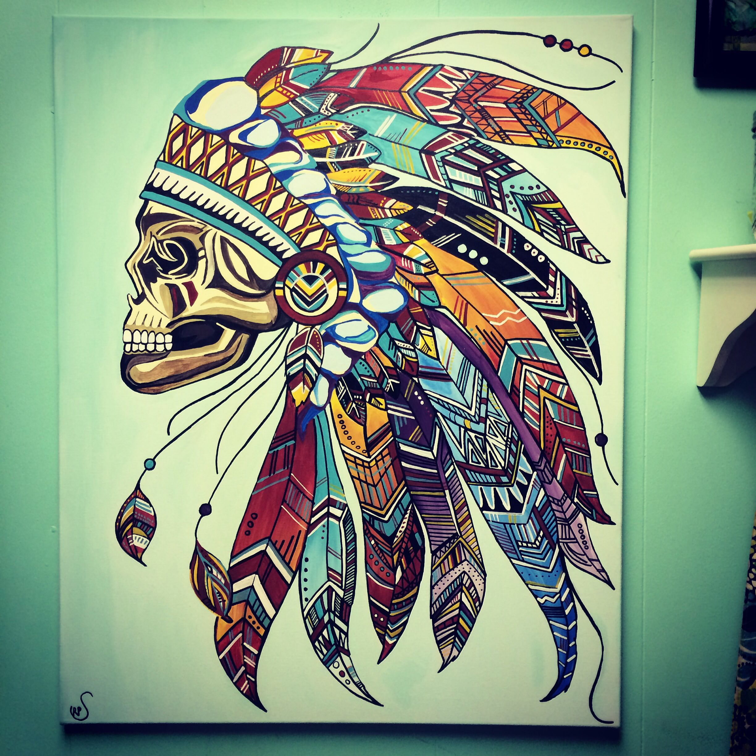 Indian skull headdress. Aztec feathers beauty canvas ...