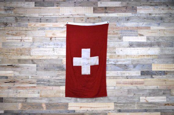 Vintage Swiss Naval Flag Red Cross Flag Swiss Flag Switzerland Flag Antique Flag Naval Flags Red Cross Cross Flag