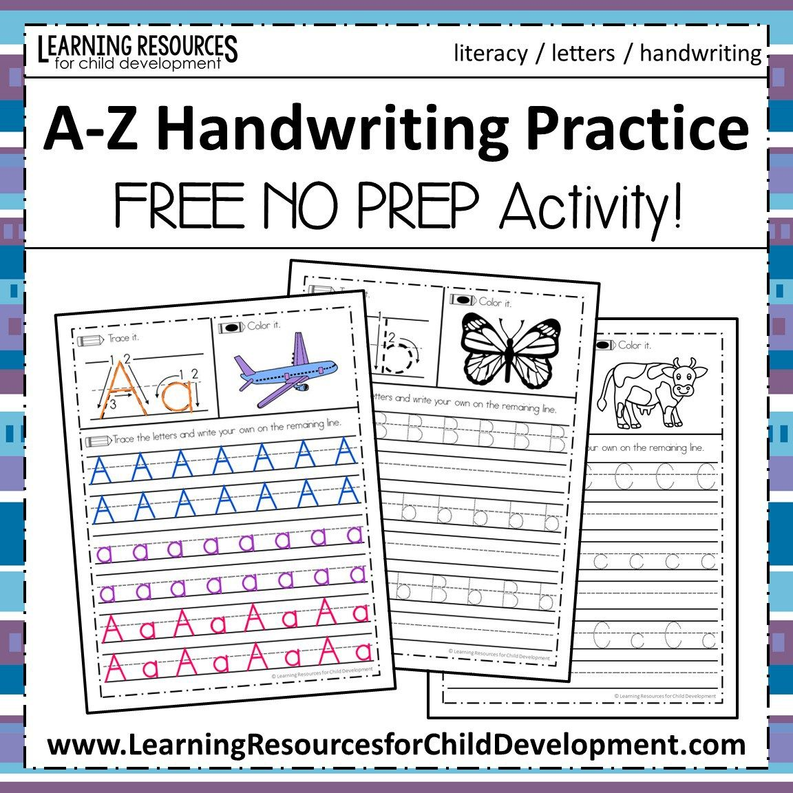 A Z Handwriting Practice No Prep Worksheets For Learning Letters Kids Handwriting Practice Handwriting Practice Free Handwriting Practice Worksheets [ 1152 x 1152 Pixel ]