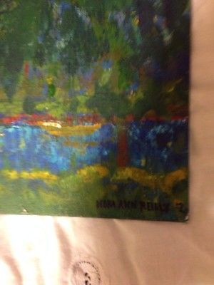 the colors are all about it .... love Hudson River NY Acrylic Painting Landscape Signed By Impressionist Artist