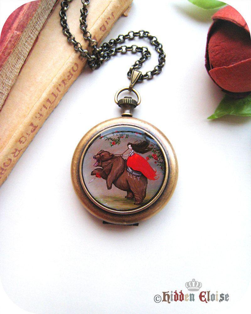 Warrior girl on bear Pocket Watch Locket, fairytale necklace, renaissance girl, painting pendant, art jewellery, It's war Q04. $60.00, via Etsy.