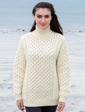 Women's Oversized Merino Turtleneck Sweater - Natural White ...