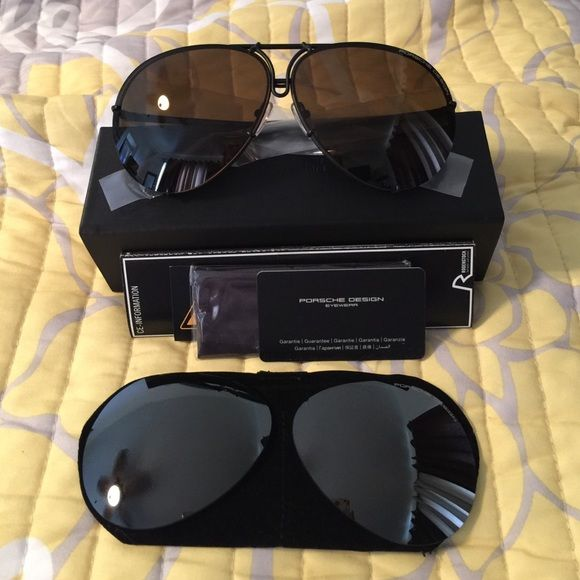 2c2f8e4b39b Porsche Design P8478 Aviators Authentic Brand New in Box • Matte Black  Frame • Olive Silver Mirror plus brown extra lenses • Sz 69 • PRICE FIRM•  Porsche ...
