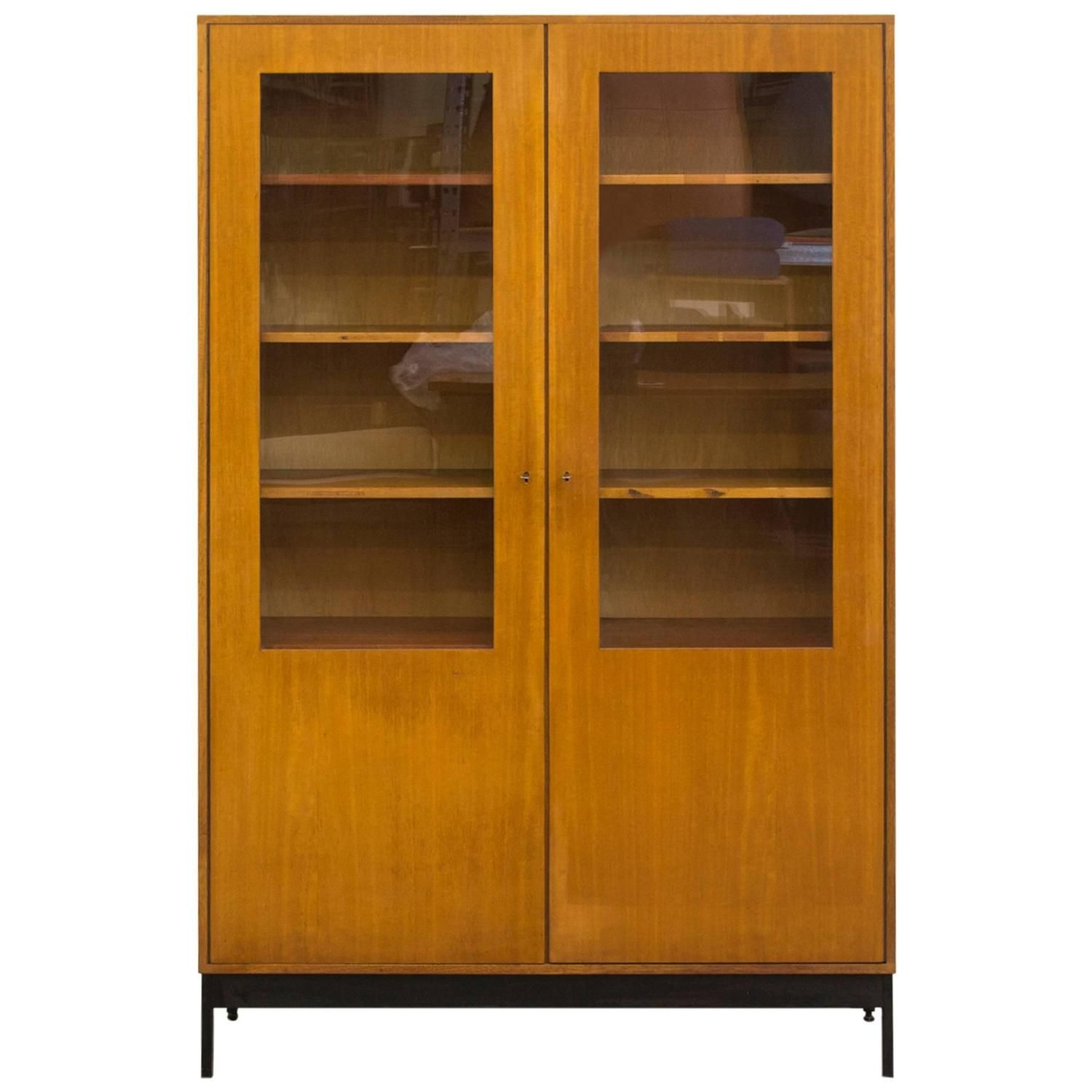 Mid-Century Science Storage Cabinet With Black Metal Base