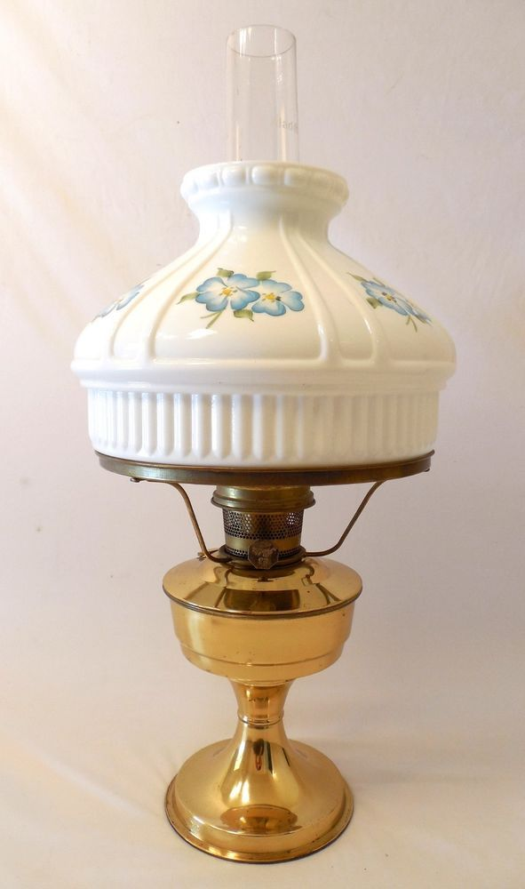 Antique aladdin brass lamp with painted flower milk glass shade antique aladdin brass lamp with painted flower milk glass shade 23 kerosene mozeypictures Image collections