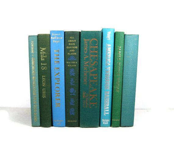 Aqua Turquoise Green Vintage Decorative Books For Wedding Decor