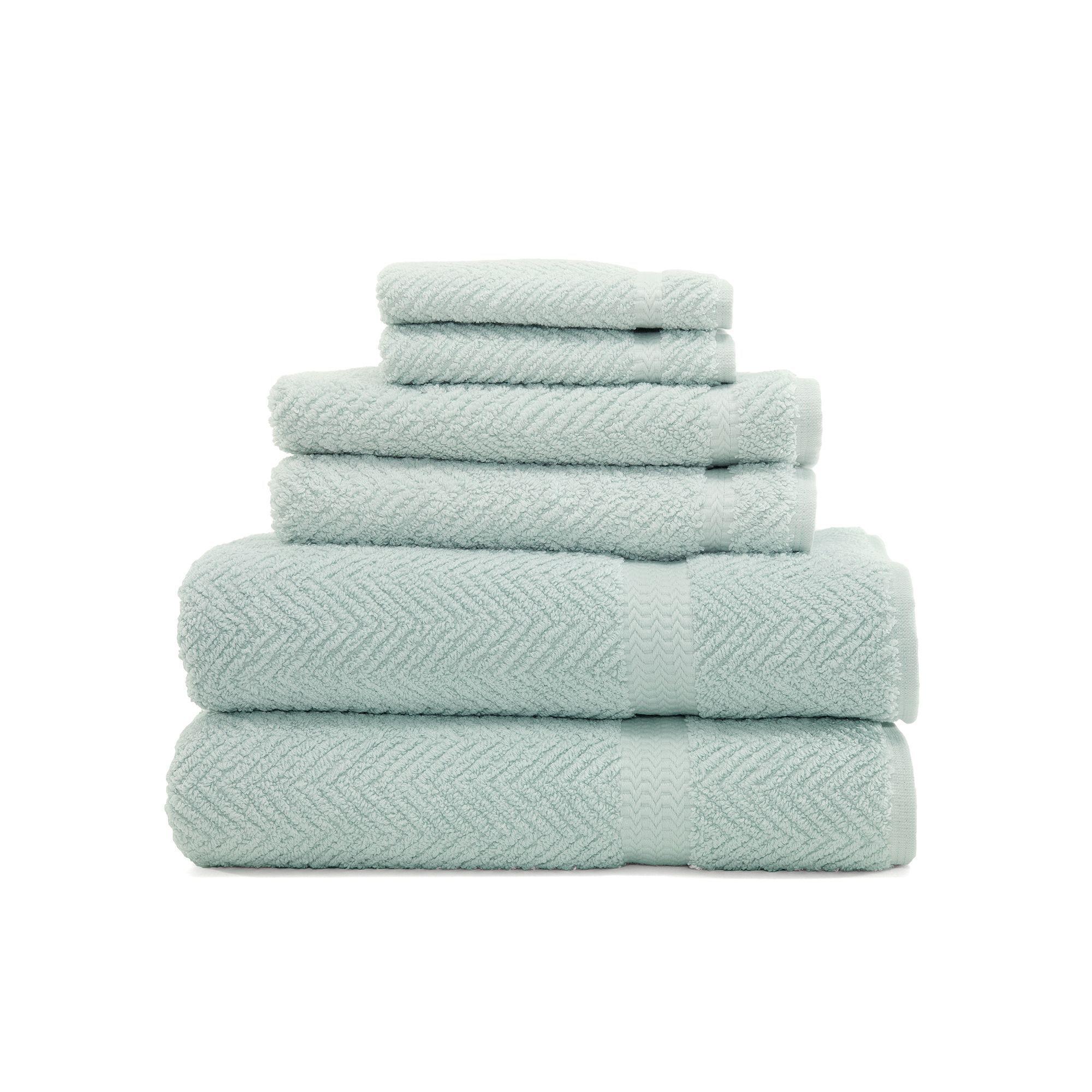 Linum Home Textiles Herringbone 6 Pc Bath Towel Set Light Blue Towel Collection Towel Set