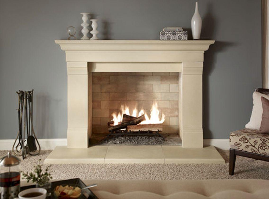 Cream Brick Inside Fireplace Fireplace Mantel Designs Firep